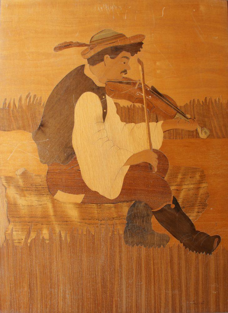 Vioolspeler, deel van dubbelportret, pendant